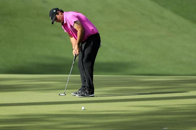 Patrick Reed of the U.S. putts on the 10th hole during final round play of the 2018 Masters golf tournament at the Augusta National Golf Club in Augusta, Georgia, U.S. April 8, 2018. REUTERS/Lucy Nicholson