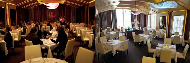 The Michelin-starred Plumed Horse in Saratoga, California has reduced its number of tables for the comfort of customers fearful of the coronavirus. The dining room, before and after the change, is depicted. (Photo: Courtesy of Lindsay Stevens PR)