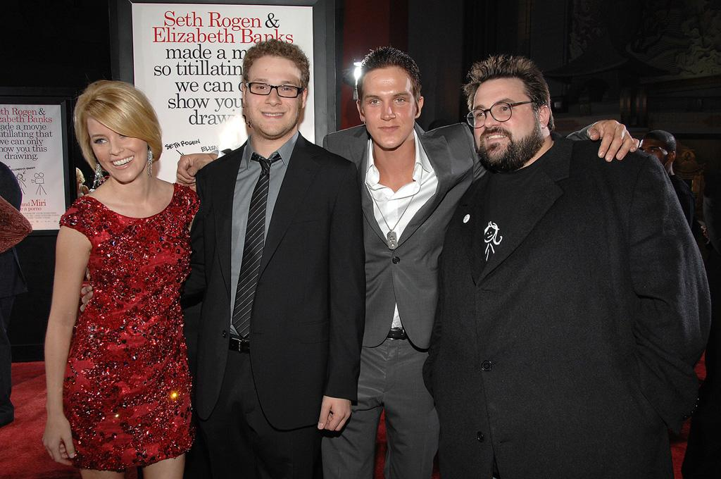 """<a href=""""http://movies.yahoo.com/movie/contributor/1807816351"""">Elizabeth Banks</a>, <a href=""""http://movies.yahoo.com/movie/contributor/1804494942"""">Seth Rogen</a>, <a href=""""http://movies.yahoo.com/movie/contributor/1800021321"""">Jason Mewes</a> and director <a href=""""http://movies.yahoo.com/movie/contributor/1800020930"""">Kevin Smith</a> at the Los Angeles premiere of <a href=""""http://movies.yahoo.com/movie/1809958867/info"""">Zack and Miri Make a Porno</a> - 10/20/2008"""