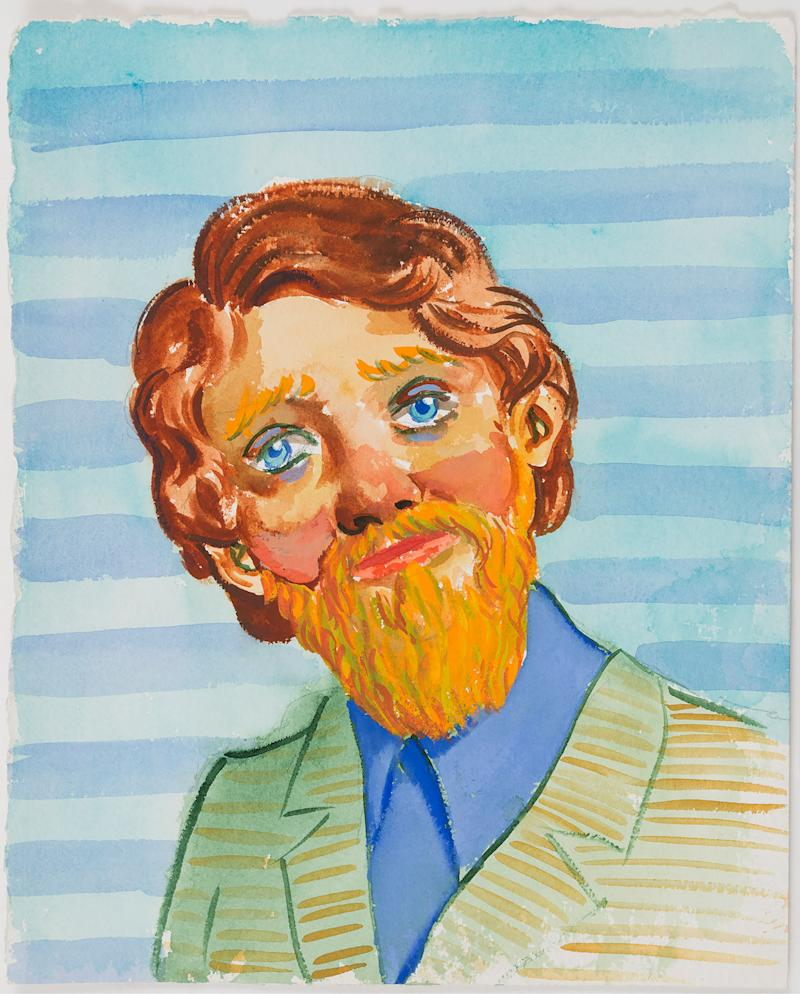 John Currin, Untitled, 1994. Gouache on paper, 13 1/2 x 11 1/2 in.