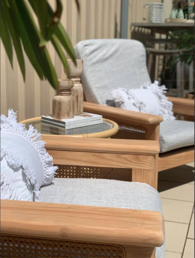Grey and ratten outdoor furniture