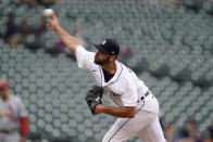 Detroit Tigers closing pitcher Michael Fulmer throws in the ninth inning of a baseball game against the St. Louis Cardinals in Detroit, Wednesday, June 23, 2021. Detroit won 6-2. (AP Photo/Paul Sancya)