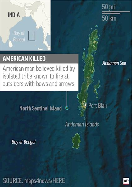 Map locates North Sentinel Island, India, where an American was believed killed by isolated tribe; 1c x 2 1/2 inches; 46.5 mm x 63 mm;
