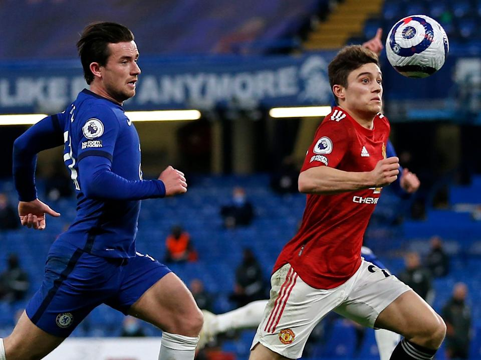 Chelsea's Ben Chilwell and United's Dan James compete for the ball (IKIMAGES/AFP via Getty Images)
