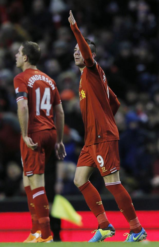 Liverpool's Iago Aspas celebrates his goal during their FA Cup third round soccer match against Oldham Athletic at Anfield in Liverpool January 5, 2014. REUTERS/Phil Noble (BRITAIN - Tags: SPORT SOCCER)