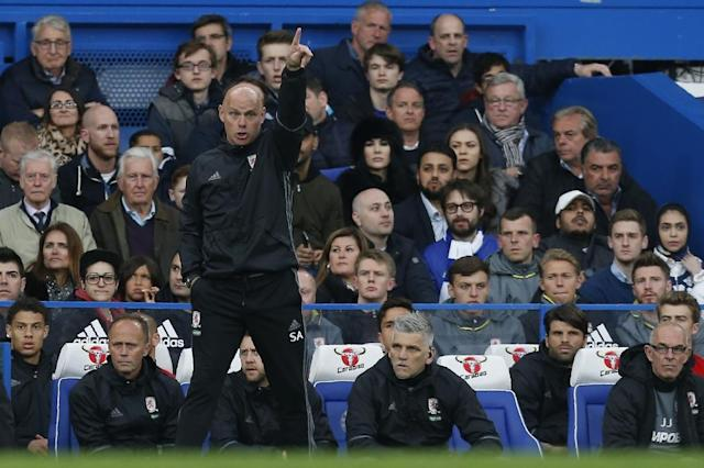 Middlesbrough's manager Steve Agnew shouts instructions from the touchline during their English Premier League match against Chelsea, at Stamford Bridge in London, on May 8, 2017 (AFP Photo/Ian Kington)