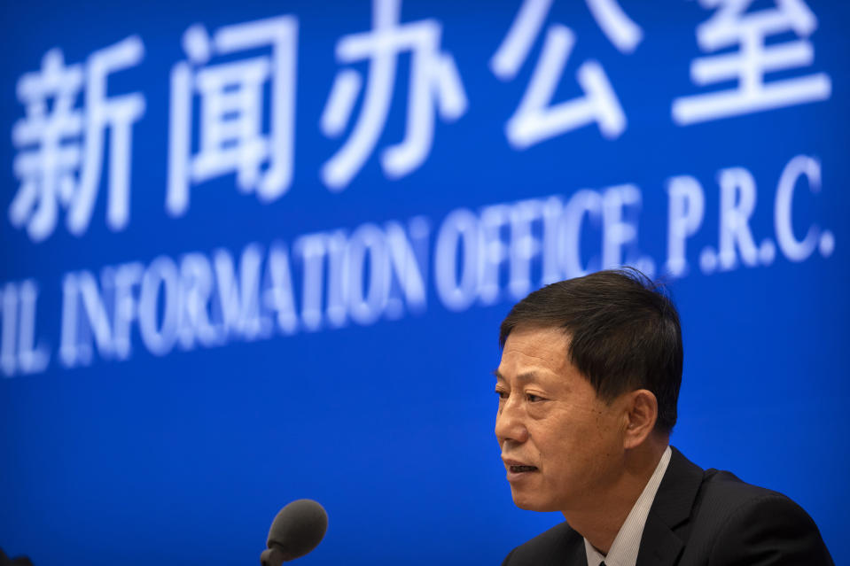 Yuan Zhiming, director of the Wuhan National Biosafety Laboratory of the Wuhan Institute of Virology, speaks at a press conference at the State Council Information Office in Beijing, Thursday, July 22, 2021. China cannot accept the World Health Organization's plan for the second phase of a study into the origins of COVID-19, a senior Chinese health official said Thursday. (AP Photo/Mark Schiefelbein)