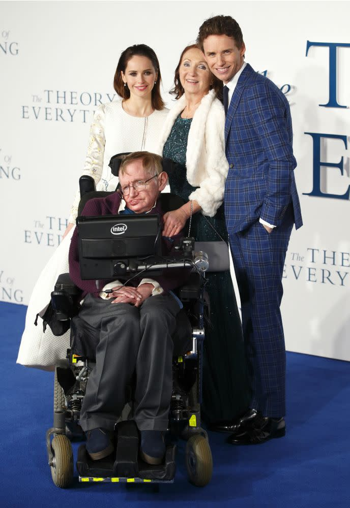 Felicity Jones, Jane Hawking, Eddie Redmayne and Stephen Hawking