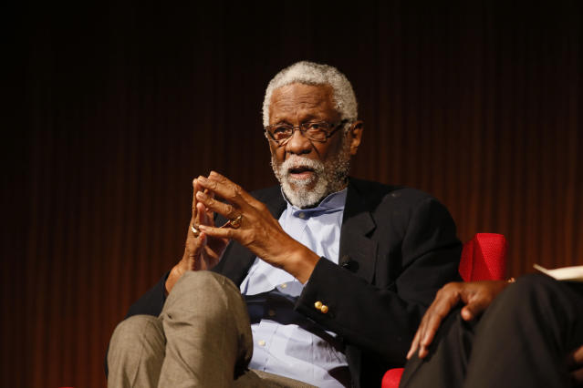 "FILE – In this April 9, 2014, file photo, Basketball Hall of Famer Bill Russell takes part in the ""Sports and Race: Leveling the Playing Field"" panel during the Civil Rights Summit in Austin, Texas. Russell has been released from a Seattle hospital after an overnight stay for an unknown condition. Russell confirmed on Twitter Saturday, May 19, 2018, that he went to the hospital late Friday but does not say why. (AP Photo/Jack Plunkett, File)"