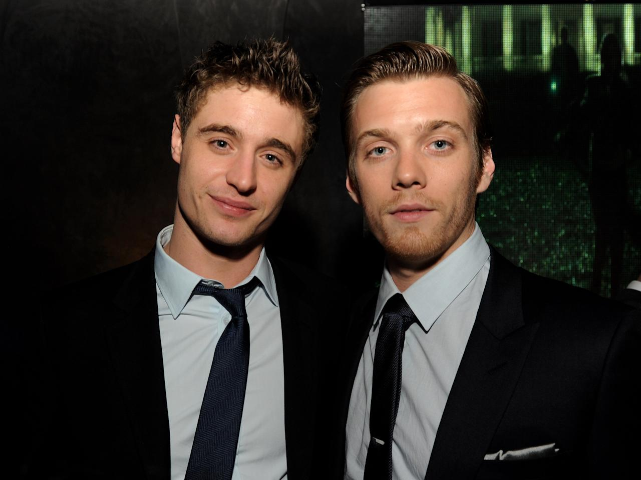 "LOS ANGELES, CA - MARCH 19:  Actors Max Irons (L) and Jake Abel pose at the after party for the premiere of Open Road Films' ""The Host"" at Lure on March 19, 2013 in Los Angeles, California.  (Photo by Kevin Winter/Getty Images)"