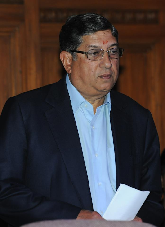 KOLKATA, INDIA ? MAY 26: BCCI chief N. Srinivasan during a press conference in Kolkata on 26th May 2013.(Photo by Subir Halder/India Today Group/Getty Images)