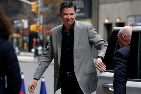 "Former FBI Director James Comey arrives for a taping of ""The Late Show with Stephen Colbert"" in the Manhattan borough of New York City, New York, U.S., April 17, 2018. REUTERS/Brendan McDermid"