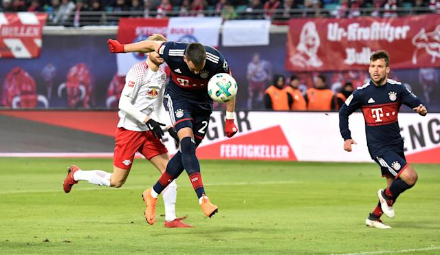 Soccer Football - Bundesliga - RB Leipzig vs Bayern Munich - Red Bull Arena, Leipzig, Germany - March 18, 2018 Bayern Munich's Sandro Wagner scores their first goal REUTERS/Matthias Rietschel DFL RULES TO LIMIT THE ONLINE USAGE DURING MATCH TIME TO 15 PICTURES PER GAME. IMAGE SEQUENCES TO SIMULATE VIDEO IS NOT ALLOWED AT ANY TIME. FOR FURTHER QUERIES PLEASE CONTACT DFL DIRECTLY AT + 49 69 650050