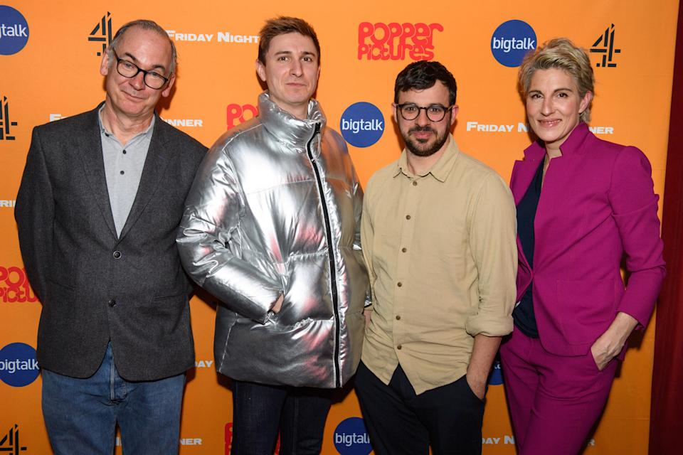 Paul Ritter, Tom Rosenthal, Simon Bird and Tamsin Greig attending a screening of Friday Night Dinner, at the Curzon Soho in London. Picture date: Monday March 9, 2020. Photo credit should read: Matt Crossick/Empics