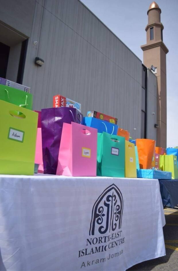 Gift bags were ready to hand to out to kids with special needs at the Akram Jomaa Islamic Centre.