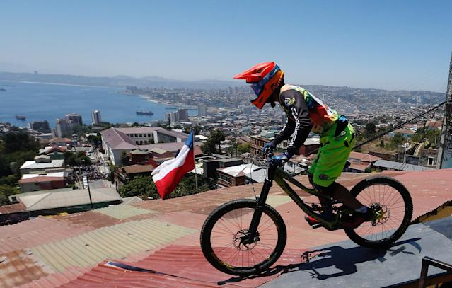 Cycling - Valparaiso mountain bike downhill race - Valparaiso, Chile, February 11, 2018. Guillermo Vargas of Chile in action during the race. REUTERS/Rodrigo Garrido
