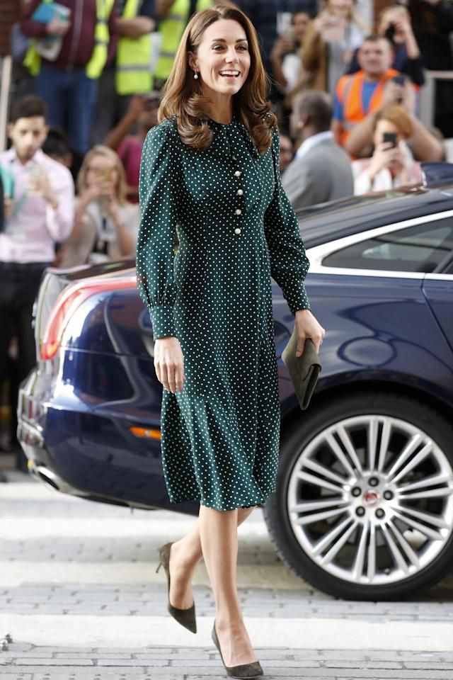 """<p>Kate donned a polka dot dress with pearl buttons for <a rel=""""nofollow"""" href=""""https://www.harpersbazaar.com/celebrity/latest/a25468767/kate-middleton-green-polka-dot-dress/"""">a visit</a> to Evelina London Children's Hospital. <br></p>"""