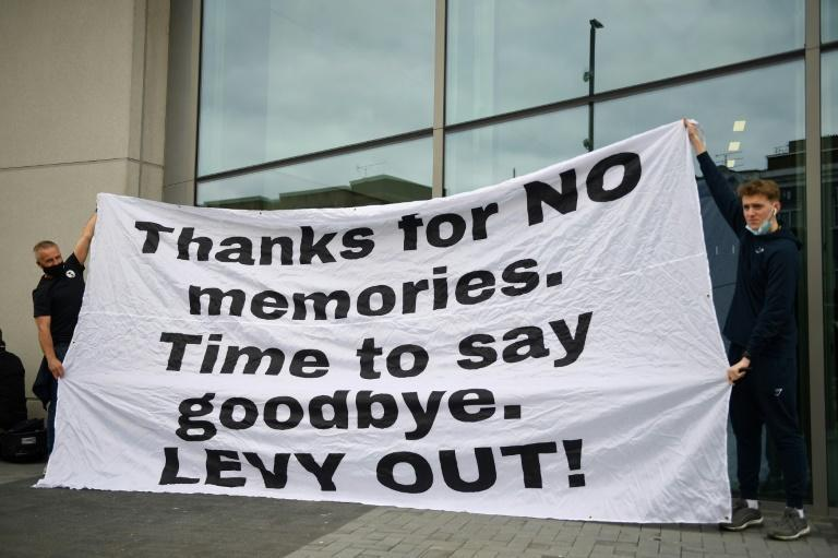 Tottenham Hotspur fans call for the departure of chief executive Daniel Levy