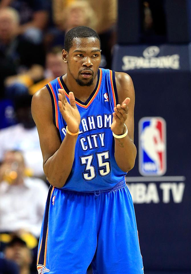 MEMPHIS, TN - MAY 13:  Kevin Durant #35 of the Oklahoma City Thunder claps after scoring during Game Four of the Western Conference Semifinals of the 2013 NBA Playoffs against the Memphis Grizzlies at FedExForum on May 13, 2013 in Memphis, Tennessee.  (Photo by Jamie Squire/Getty Images)