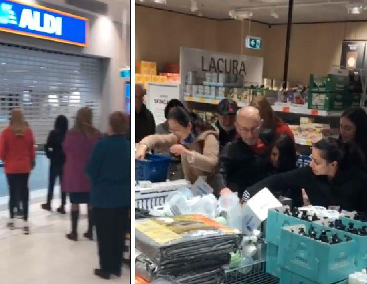 Aldi shoppers jostle one another during a Special Buys sale