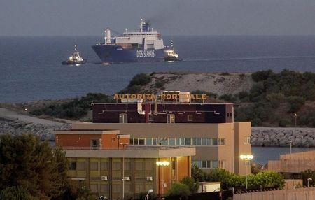 Danish ship Ark Future, carrying a cargo of Syria's chemical weapons, is seen as it arrives at Gioia Tauro port in southern Italy