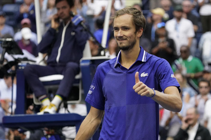 Daniil Medvedev, of Russia, reacts after defeating Felix Auger-Aliassime, of Canada, during the semifinals of the US Open tennis championships, Friday, Sept. 10, 2021, in New York. (AP Photo/Seth Wenig)