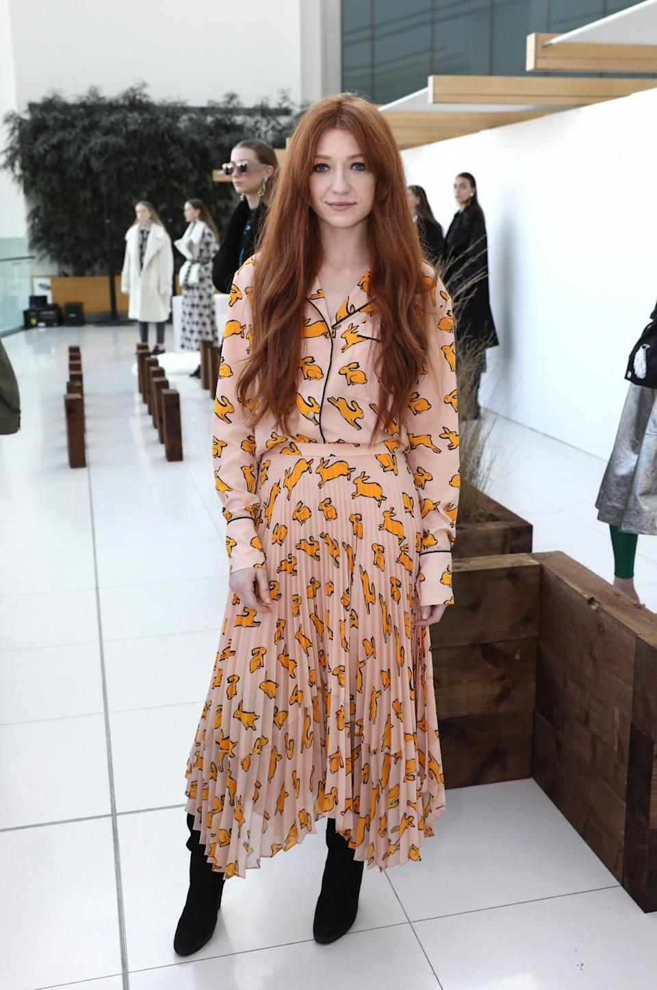 <p>Nicola Roberts was as stylish as ever in a printed maxi dress. <i>[Photo: Getty]</i> </p>