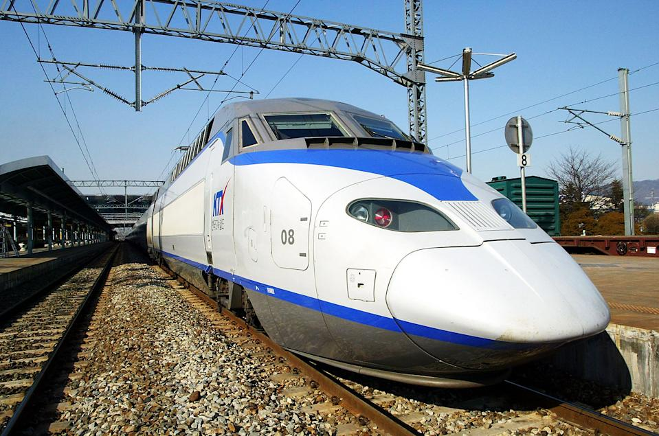 <b>KTX II or KTX-Sancheon</b> is high speed train built in South Korea by Hyundai Rotem in the second half of the 2000s and operated by Korail since March 2009. It can reach speeds of up to 352.4 km/hour (218 mph). (Getty Images)