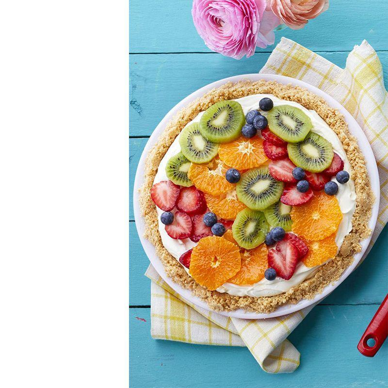 """<p>We can't think of anything that looks more stunning than some colorful fresh fruit to top of this no-bake cheesecake.<br></p><p><em><a href=""""https://www.womansday.com/food-recipes/food-drinks/recipes/a58994/fresh-fruit-cheesecake-pie/"""" rel=""""nofollow noopener"""" target=""""_blank"""" data-ylk=""""slk:Get the recipe for Fresh Fruit Cheesecake Pie."""" class=""""link rapid-noclick-resp"""">Get the recipe for Fresh Fruit Cheesecake Pie. </a></em></p>"""