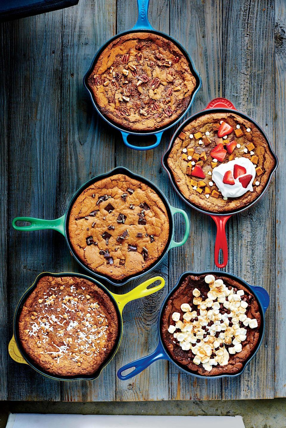 "<p><strong>Recipe: </strong><a href=""http://www.southernliving.com/syndication/deep-dish-chocolate-chip-skillet-cookie"" rel=""nofollow noopener"" target=""_blank"" data-ylk=""slk:Deep-Dish Chocolate Chip Skillet Cookie"" class=""link rapid-noclick-resp""><strong>Deep-Dish Chocolate Chip Skillet Cookie</strong></a></p> <p>We've got five fun twists on the classic chocolate chip skillet cookie so every family member can get a bite of their favorite flavors.</p>"