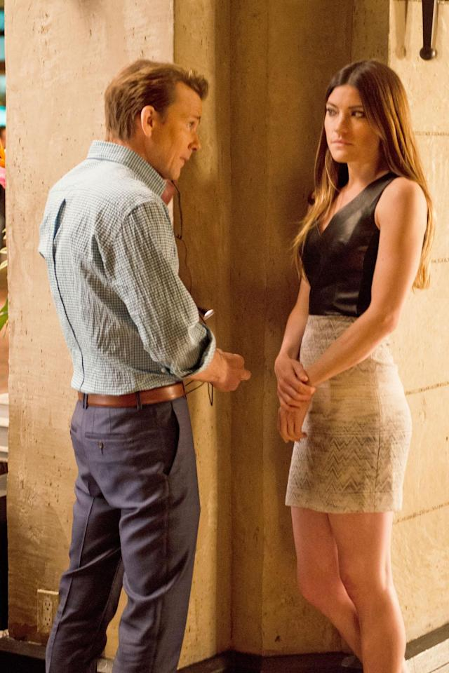 "Sean Patrick Flanery as Jacob Elway and Jennifer Carpenter as Debra Morgan in the ""Dexter"" Season 8 episode, ""A Little Reflection."""