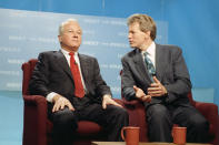 """FILE - In this Nov. 10, 1991 file photo, Republican gubernatorial candidate David Duke, right, talks to his opponent, Democratic former Gov. Edwin Edwards after the two men appeared together on NBC's """"Meet the Press,"""" in New Orleans. Edwin Washington Edwards, the high-living four-term governor whose three-decade dominance of Louisiana politics was all but overshadowed by scandal and an eight-year federal prison stretch, died Monday, July 12, 2021 . He was 93. Edwards died of respiratory problems with family and friends by his bedside, family spokesman Leo Honeycutt said. He had suffered bouts of ill health in recent years and entered hospice care this month at his home in Gonzales, near the Louisiana capital. (AP Photo/Tannen Maury, File)"""