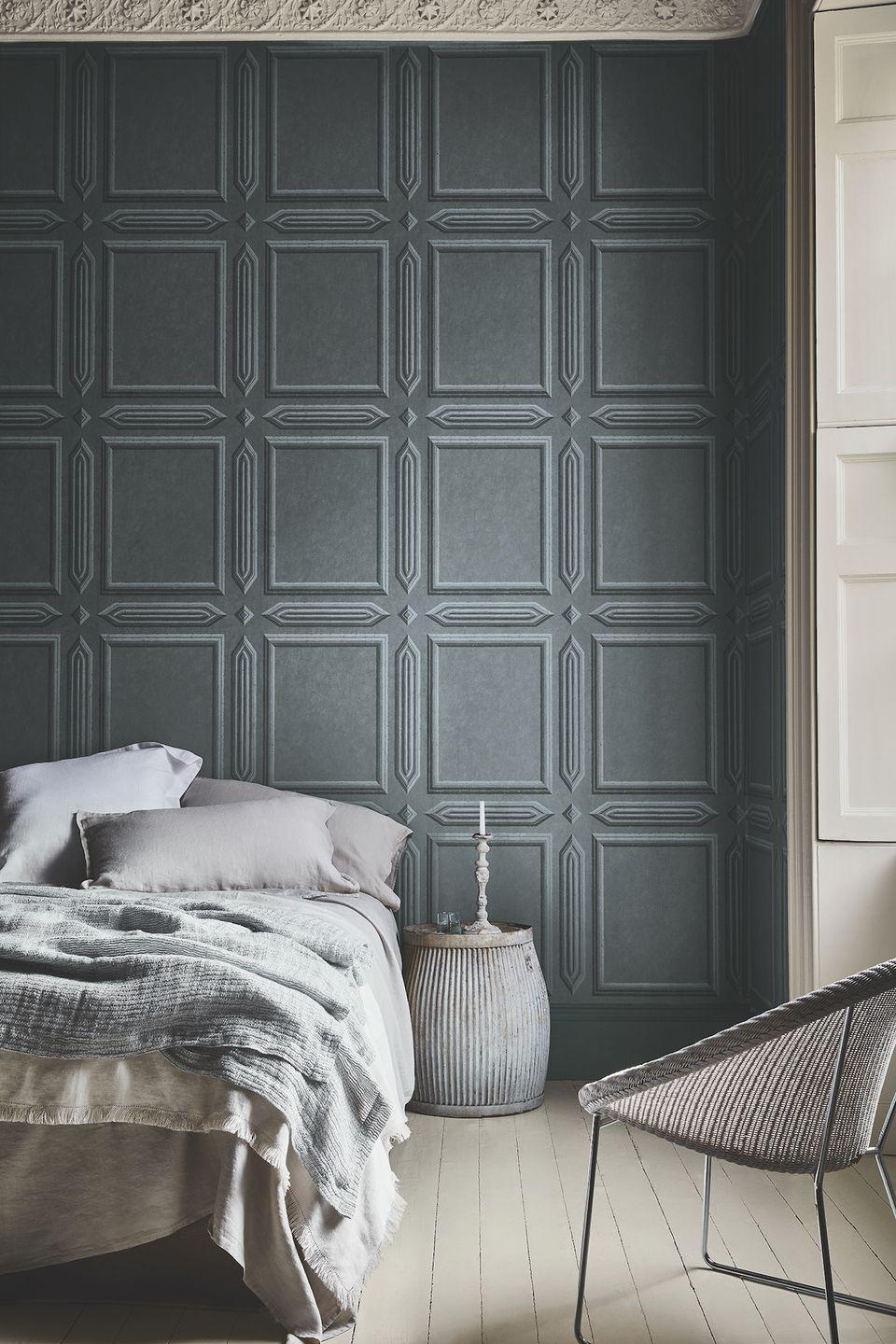 """<p>Wall panelling is trending right now and adds an interesting element to a room, giving character to plain walls. If you don't have panelling, fake it with wallpaper like this lovely design.</p><p>Pictured: Old Gloucester Street – Tome, woodwork and floor both painted in French Grey mid 162, Intelligent Eggshell, Intelligent Floor Paint, all from <a href=""""https://www.littlegreene.com/"""" rel=""""nofollow noopener"""" target=""""_blank"""" data-ylk=""""slk:Little Greene"""" class=""""link rapid-noclick-resp"""">Little Greene</a></p>"""