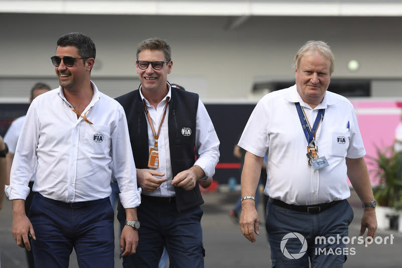 """Bernd Maylander with Michael Masi and Jo Bauer<span class=""""copyright"""">Simon Galloway / Motorsport Images</span>"""