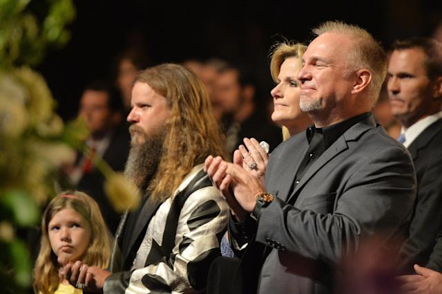 NASHVILLE, TN - MAY 02: (EXCLUSIVE COVERAGE) (L-R) Kaylee Johnson and country musicians Jamey Johnson, Trisha Yearwood, and Garth Brooks attend the funeral service for George Jones at The Grand Ole Opry on May 2, 2013 in Nashville, Tennessee. Jones passed away on April 26, 2013 at the age of 81. (Photo by Rick Diamond/Getty Images for GJ Memorial)