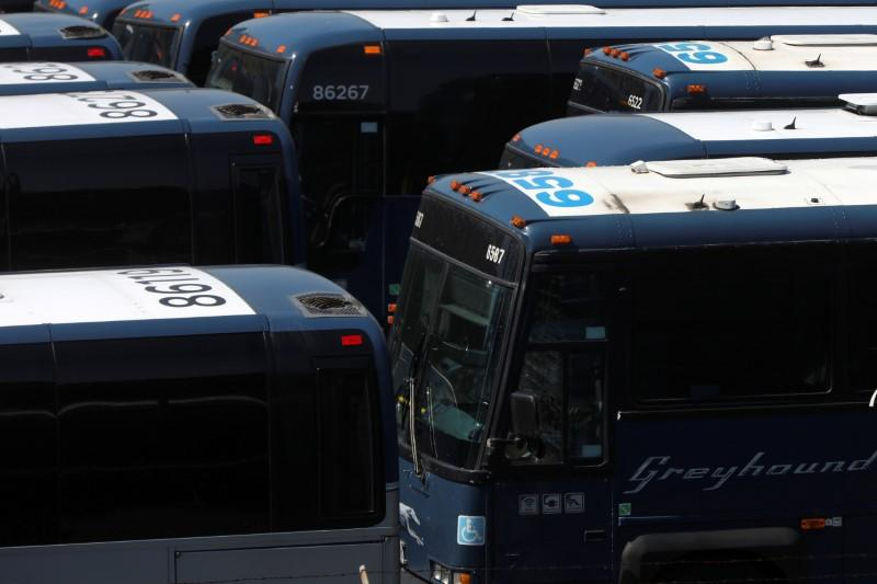 Greyhound buses are lined up in New York City