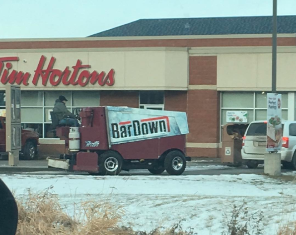 A Instagram user says he spotted this zamboni at a drive-thru in Stony Plain, Alta. Photo from Instagram/aim4apex