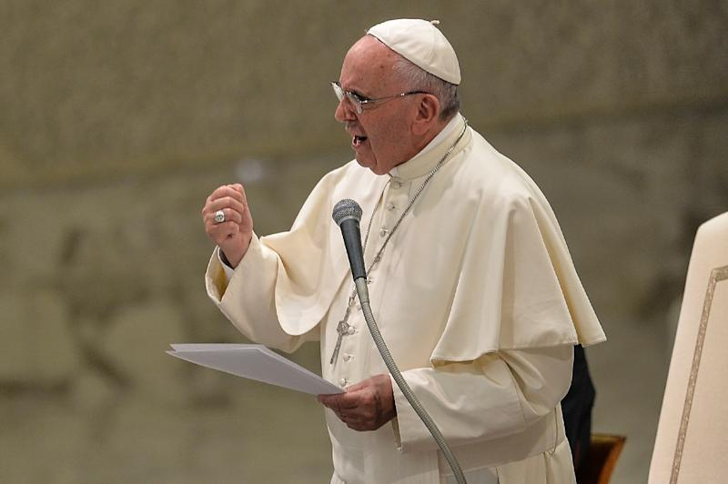 Pope Francis delivers a speech at the Vatican, on September 12, 2015