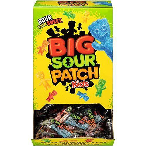 """<p><strong>Sour Patch Kids</strong></p><p>amazon.com</p><p><strong>$10.97</strong></p><p><a href=""""https://www.amazon.com/dp/B004KARTKU?tag=syn-yahoo-20&ascsubtag=%5Bartid%7C2141.g.34414052%5Bsrc%7Cyahoo-us"""" rel=""""nofollow noopener"""" target=""""_blank"""" data-ylk=""""slk:Shop Now"""" class=""""link rapid-noclick-resp"""">Shop Now</a></p><p>Sour Patch Kids are A-OK for people avoiding animal products. This variety pack will keep kids happy (and adults well-stocked).</p>"""