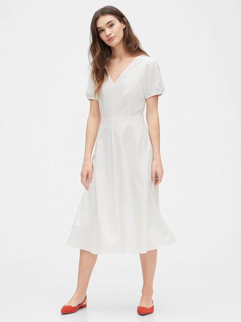 <p>This <span>Gap V-Neck Midi Dress</span> ($40, originally $80) is pretty and affordable.</p>