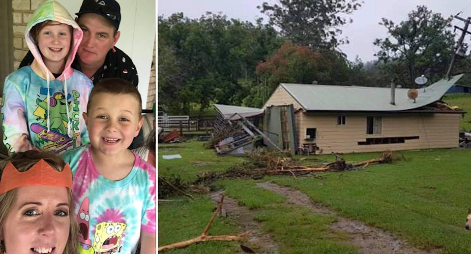 Rob Costigan seen left with his family. Right is the main home on the 100 acre farm near Wauchope in the state's Mid North Coast