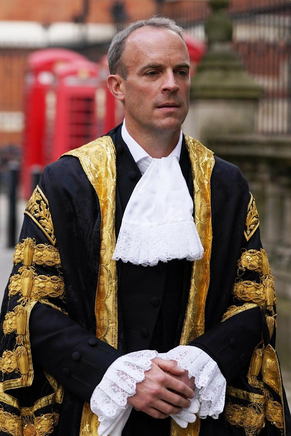 Dominic Raab arrives at the Judge's entrance to the Royal Courts of Justice in London, ahead of his swearing in ceremony as Lord Chancellor (Gareth Fuller/PA) (PA Wire)