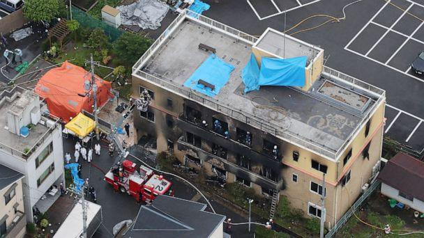 PHOTO: This aerial view shows the rescue and recover scene after a fire at an animation company building killed some two dozen people in Kyoto on July 18, 2019. (Jiji Press/AFP/Getty Images)