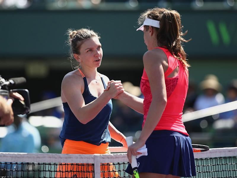 Konta fought back after Halep served for the match in Miami (Getty)