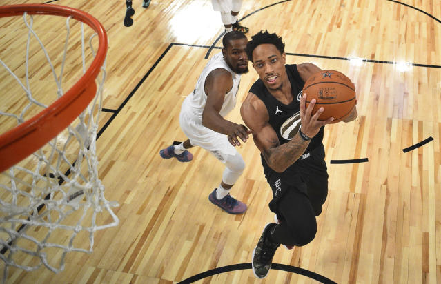 "Even as a four-time All-Star with a nine-figure contract, <a class=""link rapid-noclick-resp"" href=""/olympics/rio-2016/a/1128527/"" data-ylk=""slk:DeMar DeRozan"">DeMar DeRozan</a> isn't immune from feeling depressed. (AP)"