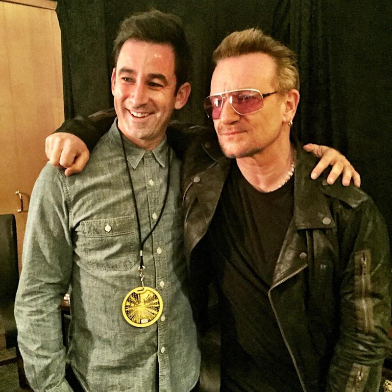 In 2015 with Bono, who introduced him to Pope Francis