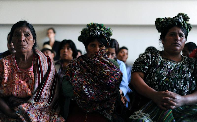 Relatives of victims of Guatemala's civil war attend the hearing on the trial against former Jose Efrain Rios Montt, in Guatemala City on January 31, 2013 (AFP Photo/Johan Ordonez)