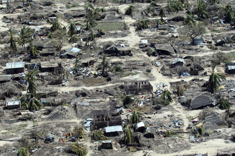 An aerial shot shows widespread destruction caused by Cyclone Kenneth when it struck Ibo island north of Pemba city in Mozambique, Wednesday, May, 1, 2019. The government has said more than 40 people have died after the cyclone made landfall on Thursday, and the humanitarian situation in Pemba and other areas is dire. More than 22 inches (55 centimeters) of rain have fallen in Pemba since Kenneth arrived just six weeks after Cyclone Idai tore into central Mozambique. (AP Photo/Tsvangirayi Mukwazhi)