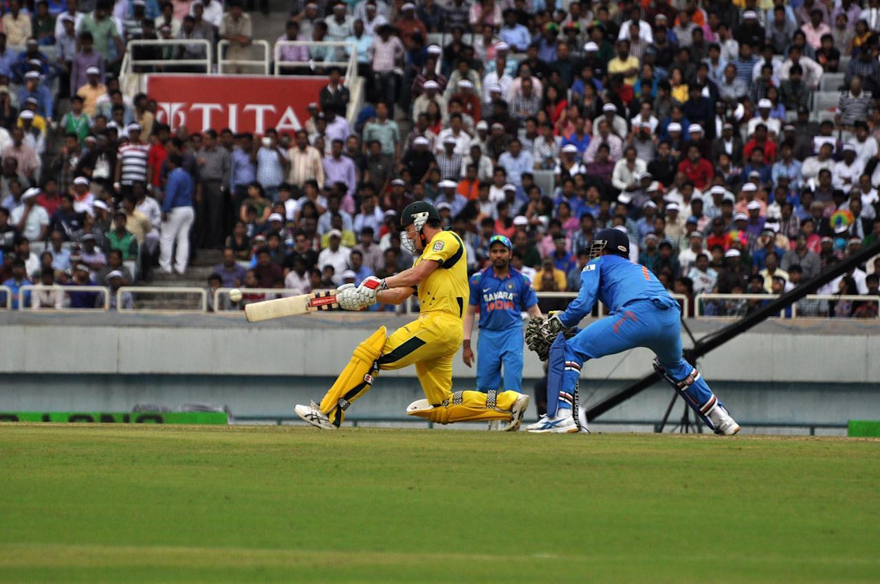 George Bailey in action during the 4th ODI between India and Australia at JSCA Stadium in Ranchi on Oct. 23, 2013. (Photo: IANS)