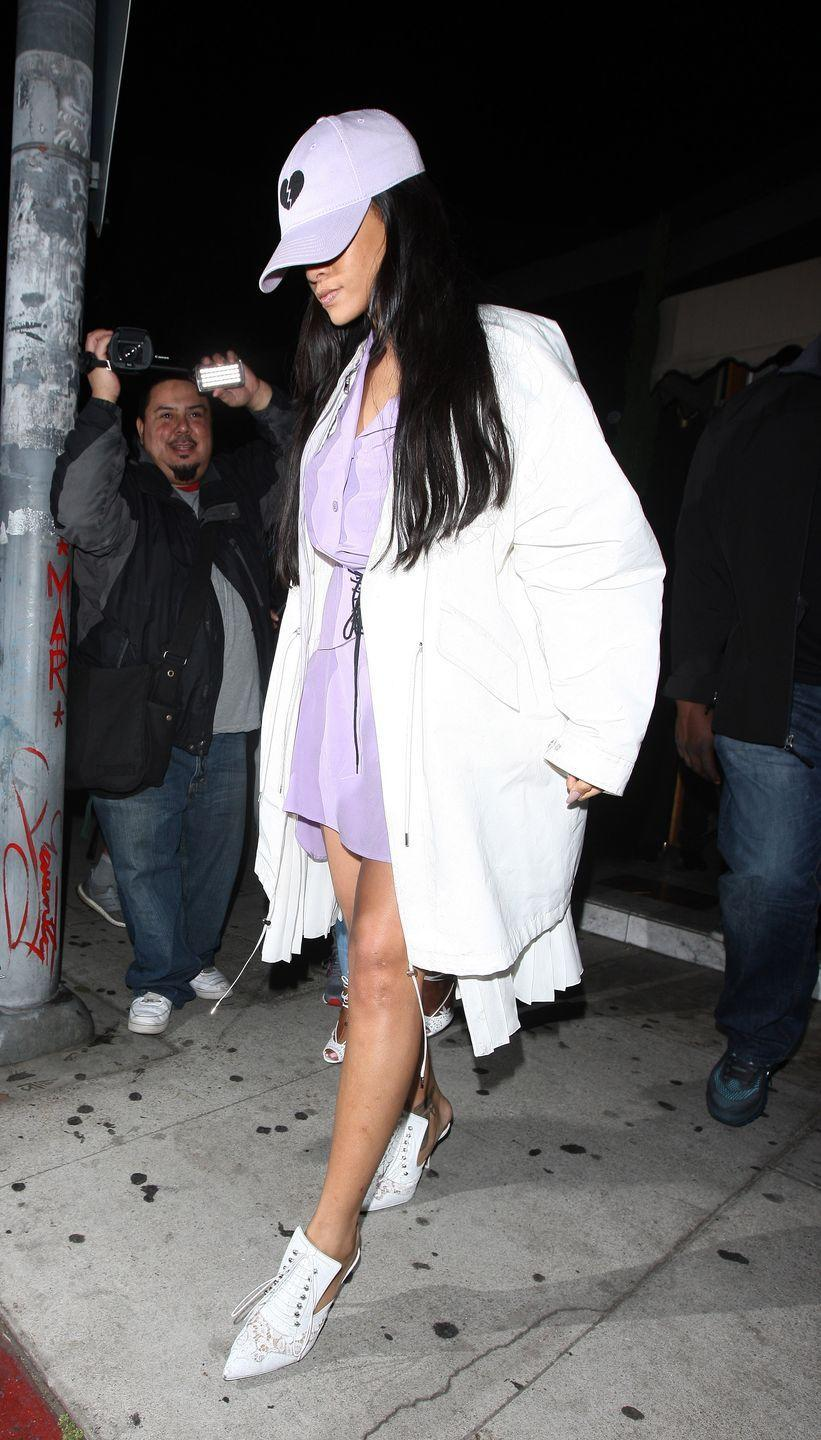 <p>Dressed in a lavender dress and baseball cap with draped white jacket and booties while leaving The Nice Guy in Los Angeles </p>